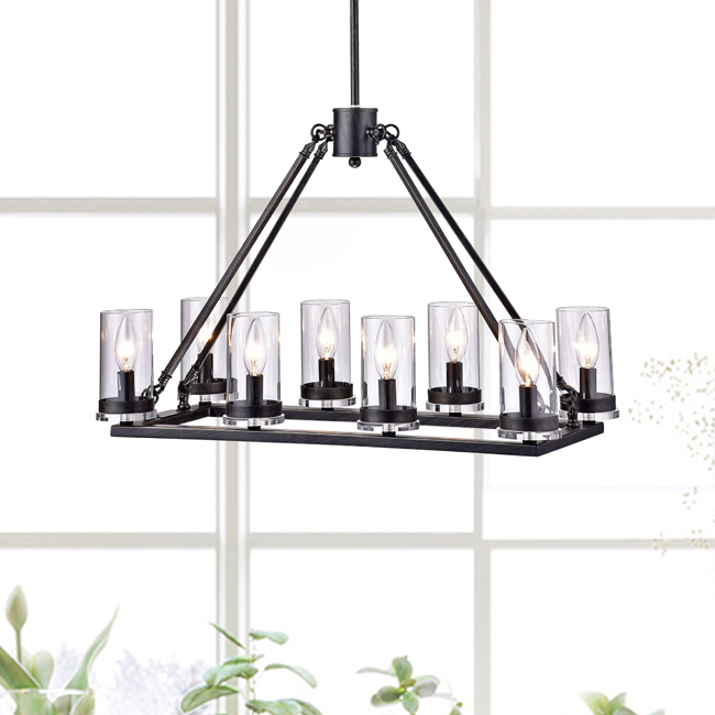 Daniela Antique Black 8-light Linear Clear Glass Cylinder Chandelier LJ-1775-MQQ