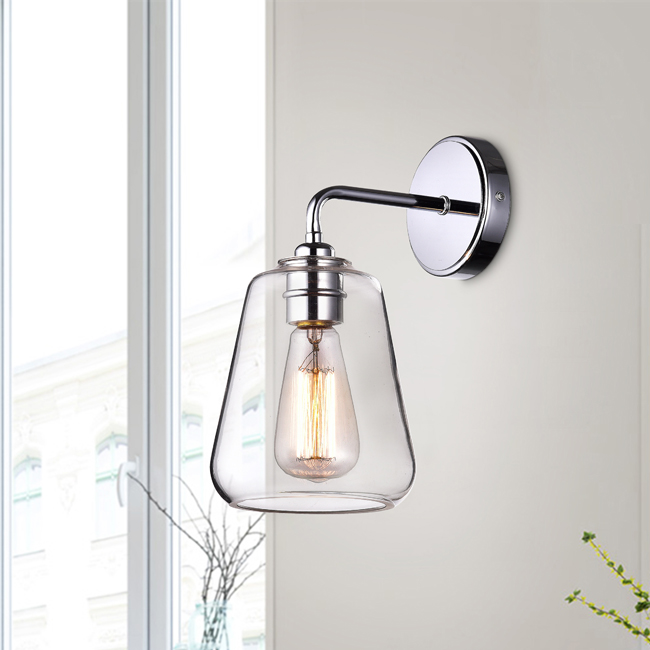 Anastasia Chrome Finish Wall Sconce with Clear Glass Shade LJ-2608-XXF