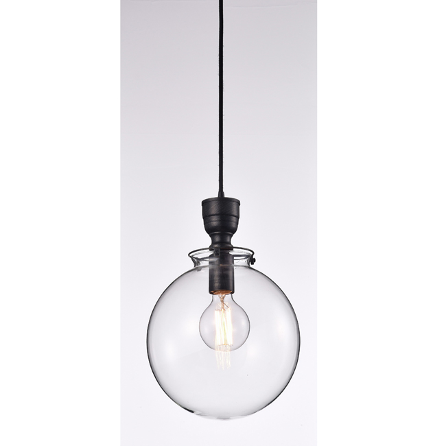 Luna Clear Glass Globe Pendant Chandelier in Antique Black LJ-2759-ZUS
