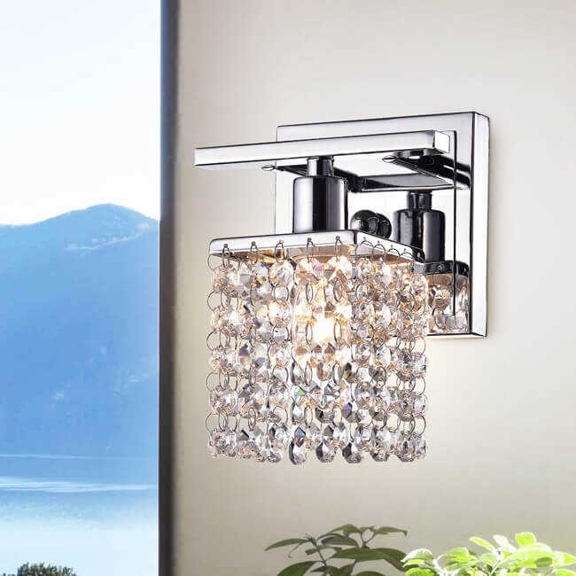 Ivana Chrome and Crystal Mini Wall Sconce LJ-2766-NVG