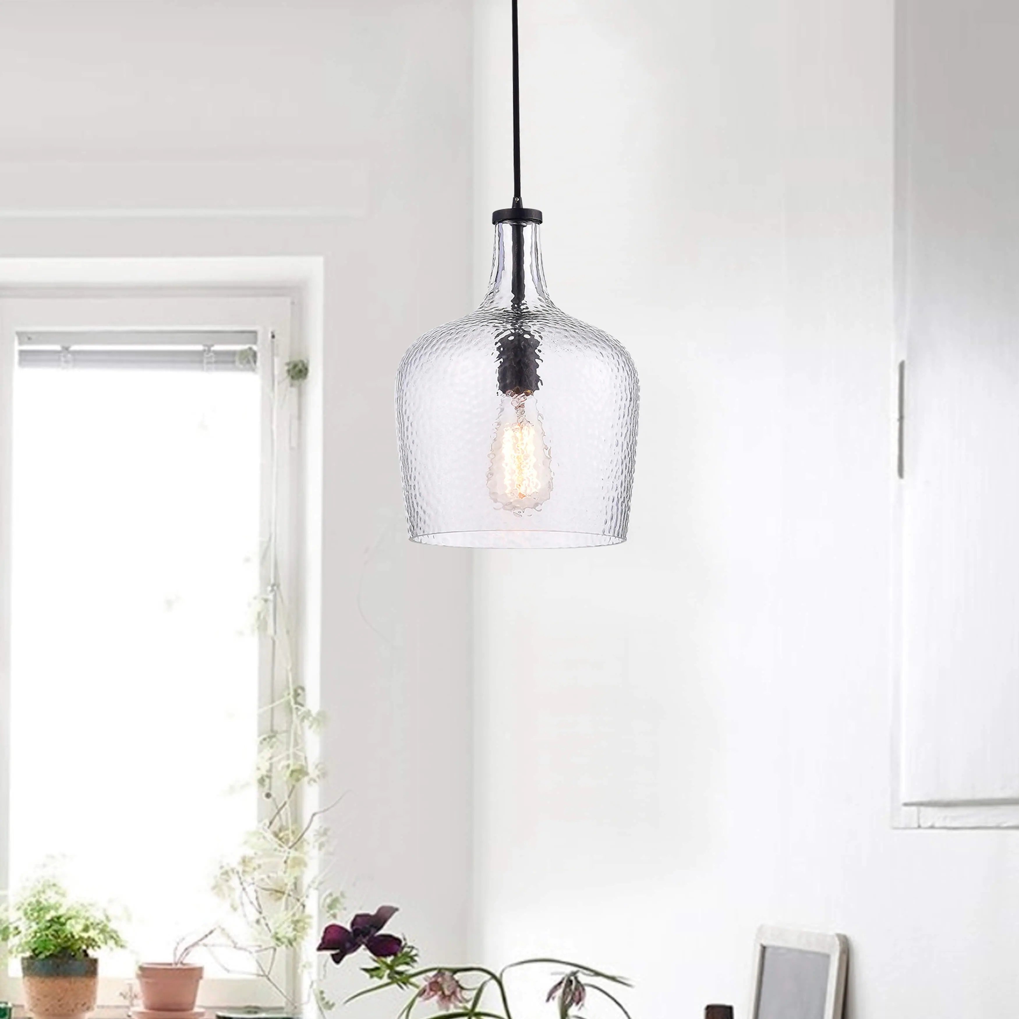 Belinda Mouth-blown Clear Glass Pendant Chandelier in Antique Black Finish LJ-3461-XLP