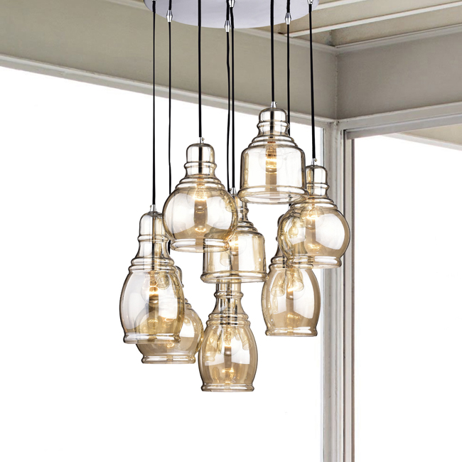 Mariana 8-light Cognac Glass Cluster Pendant Chandelier With Chrome Finish and Round Base LJ-3719-CUC