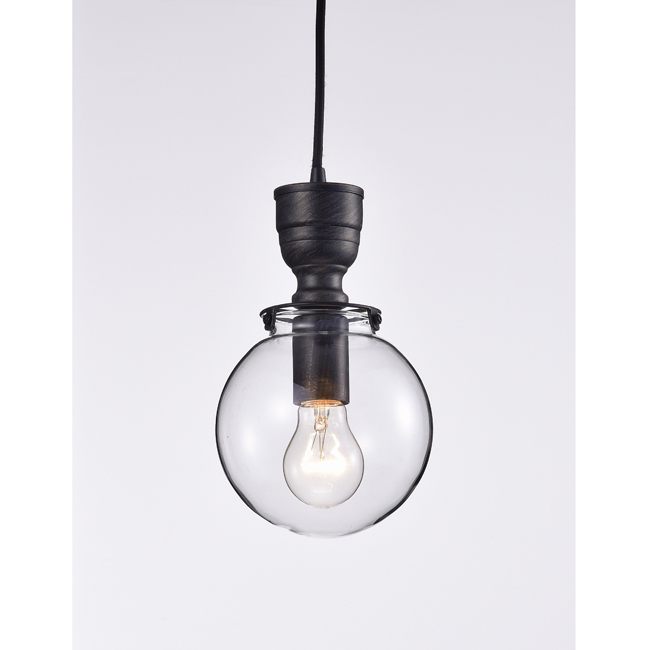 Luna Mini Clear Glass Globe Pendant Chandelier in Antique Black LJ-3830-PNS
