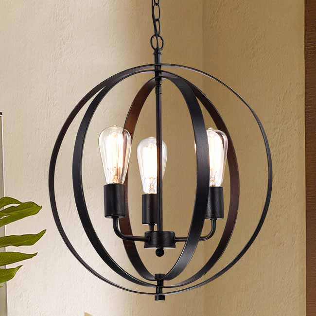 Benita Antique Black 3-light Concentric Mixed Iron Rings Orb Chandelier LJ-3855-DRR