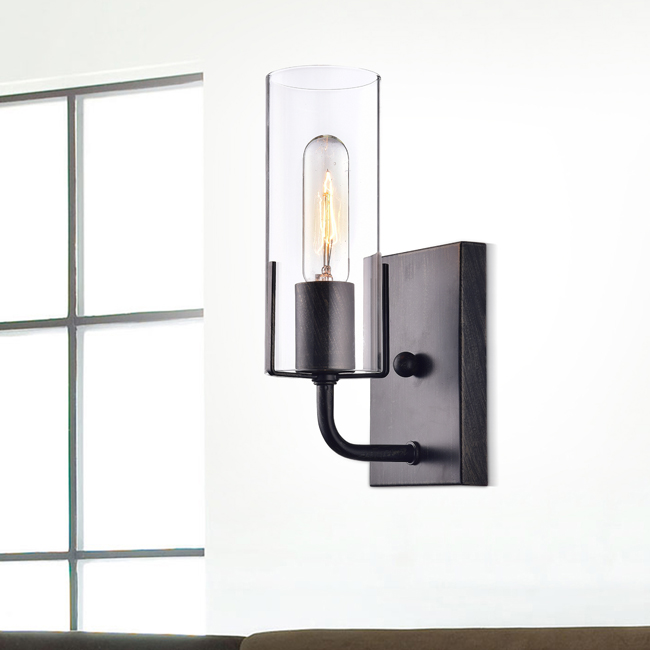 Alfreda Antique Black Wall Sconce with Clear Glass Cylinder LJ-3987-GMB
