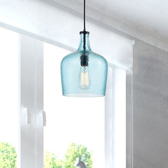 Belinda Mouth-blown Blue Glass Pendant Chandelier in Antique Black Finish LJ-4419-AHG