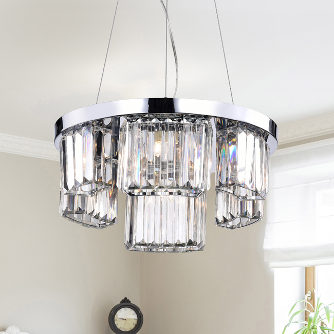 Esperanza Chrome 6-light Glass Prism Round Chandelier LJ-4938-MSJ
