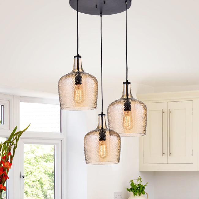 Belinda Mouth-blown Tawny Glass Cluster Pendant Chandelier in Antique Black Finish