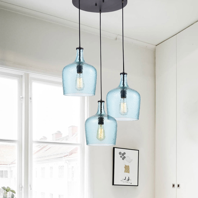 Belinda Mouth-blown Blue Glass Cluster Pendant Chandelier in Antique Black Finish LJ-6365-QMU