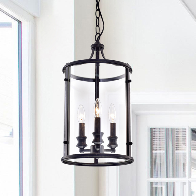 Henrietta Black Iron/Glass 3-light Antique-style Pendant Chandelier LJ-6621-JVJ