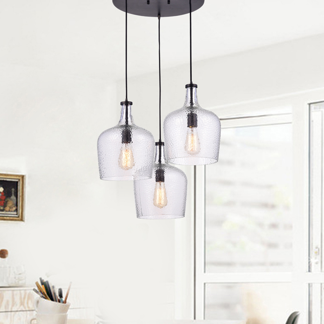 Belinda Mouth-blown Clear Glass Cluster Pendant Chandelier in Antique Black Finish LJ-7950-JUV