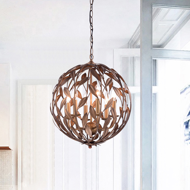 Holly Antique Copper Orb Shaped Leaves Chandelier with 6 Lights LJ-8041-NNV