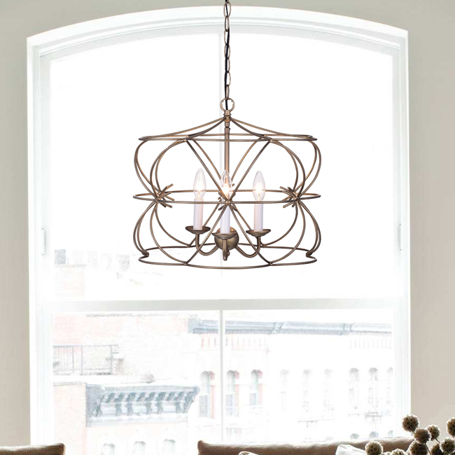 Joshua Antique Copper 3-Light Iron Stem Cage Chandelier LJ-8320-WVW