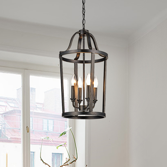 Henrietta 4-light Antique Black Iron Pendant Chandelier LJ-8368-EGF