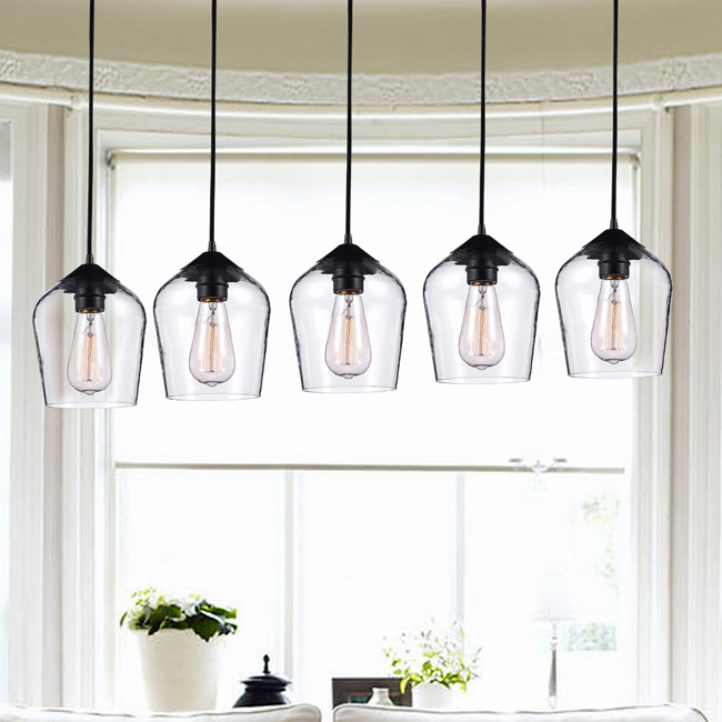 Belinda Antique Black Finish Clear Glass 5 Light Pendant Chandelier LJ-8586-GRZ