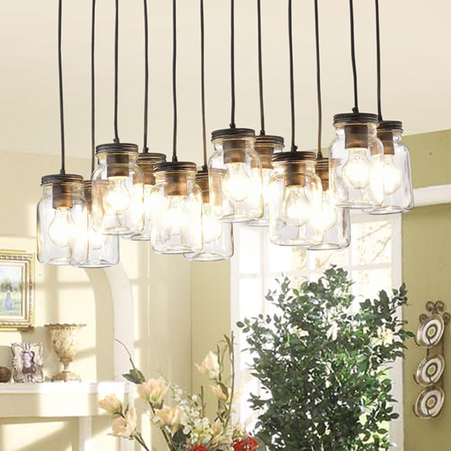 Belinda 12-light Clear Glass Canning Jar Pendant Chandelier LJ-8694-GBJ