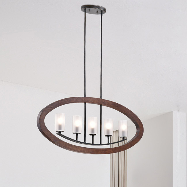 Daniela Black/Brown Frosted Glass/Wood/Iron Iron 5-light Chandelier LJ-8834-FTM