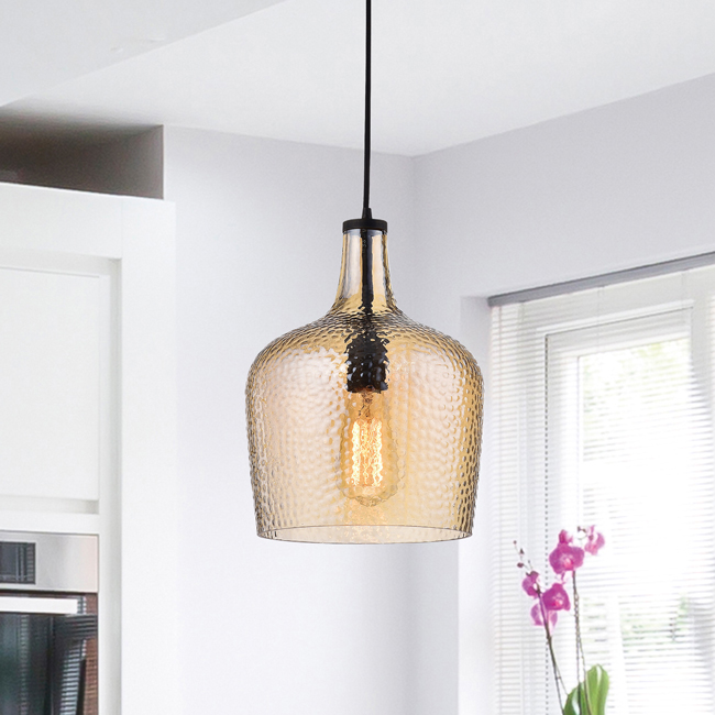Belinda Mouth-blown Tawny Glass Pendant Chandelier in Antique Black Finish LJ-9263-KBB