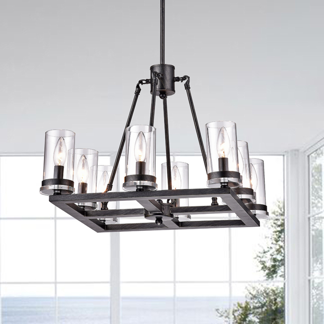 Daniela Antique Black Square 8-light Clear Glass Cylinder Chandelier LJ-9641-CTD