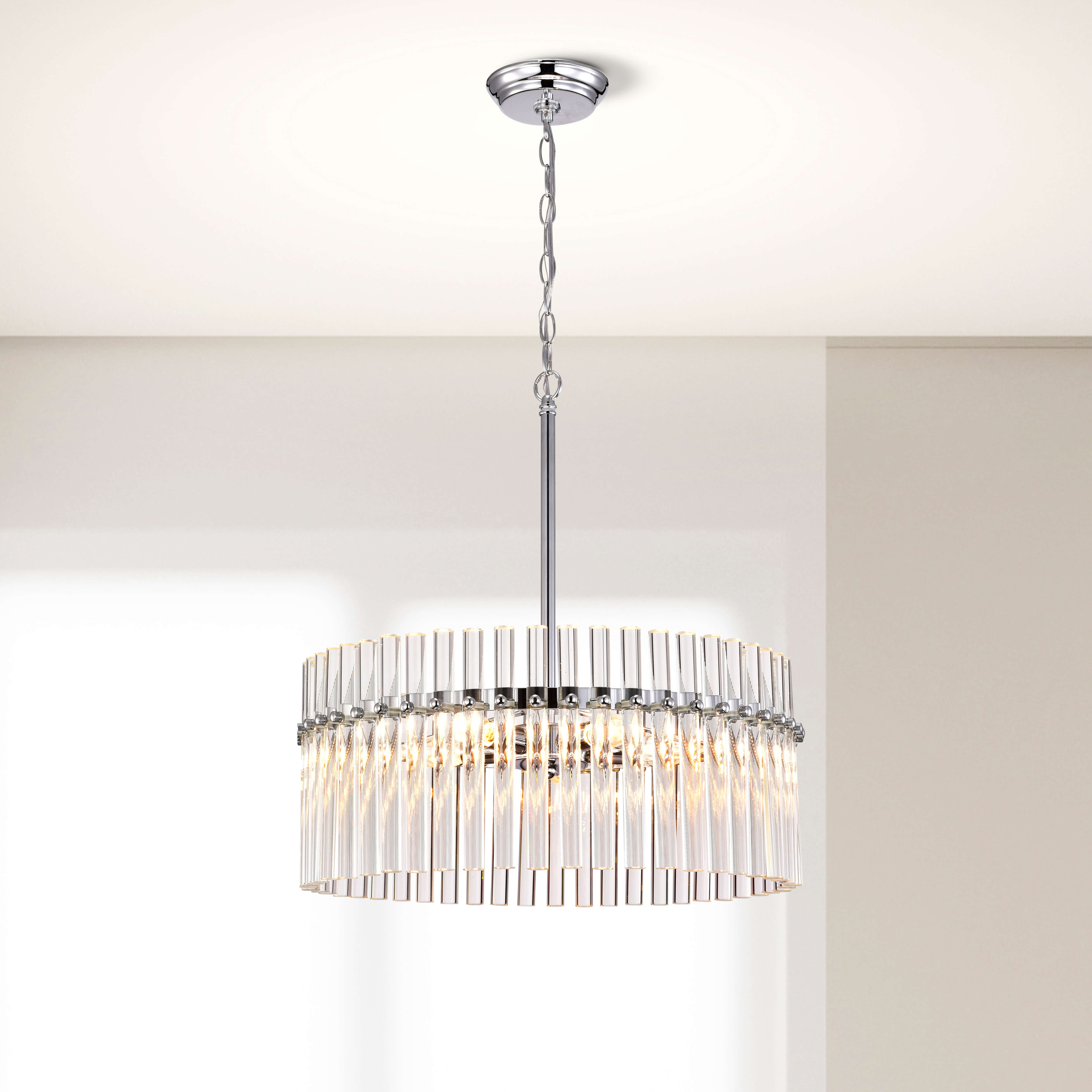 Casandra 4-light Chrome Pendant Crystal Chandelier LJ-9733-XVD