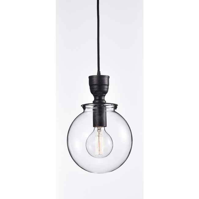 Luna Medium Clear Glass Globe Pendant Chandelier in Antique Black LJ-9947-RQG