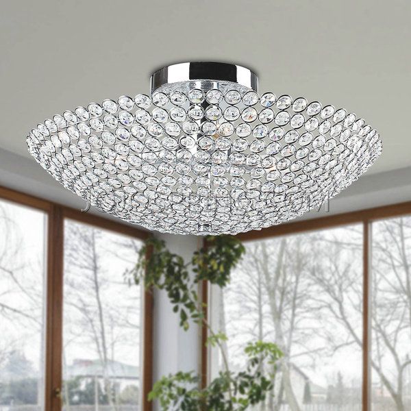 Leila Bowl-shaped Crystal Flush Mount Chandelier in Chrome