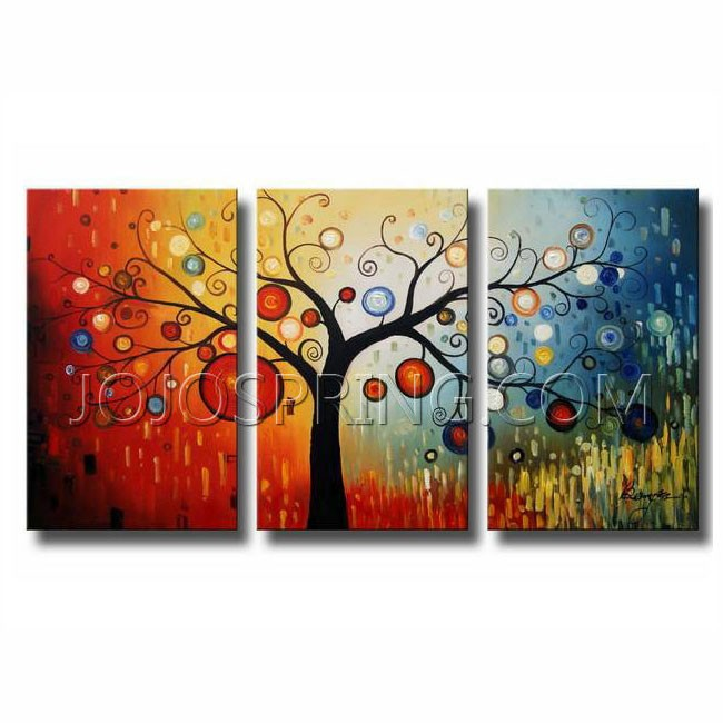 life tree v 39 oil paint 3 piece canvas art set