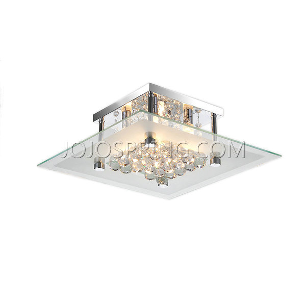 Lucia Square Glass Flush Mount Chandelier with Clear Crystals