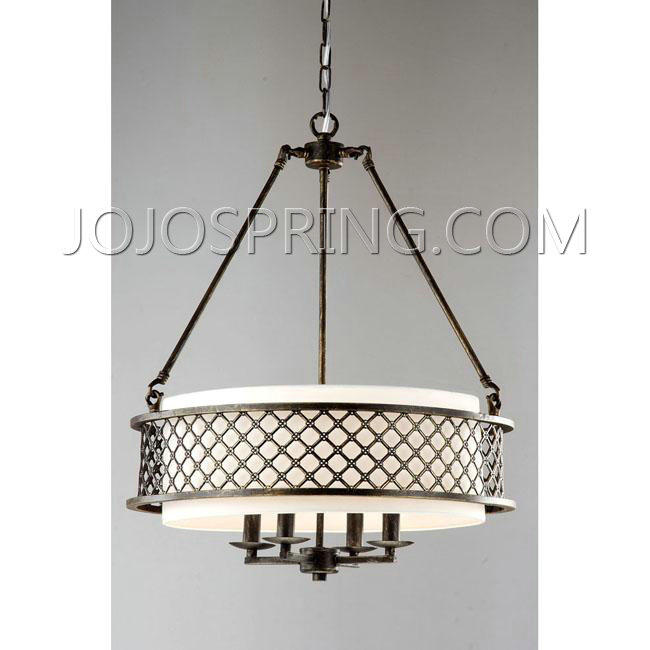 Lux Bronze 4-light Beige Pendant Chandelier - B511-BGC-215