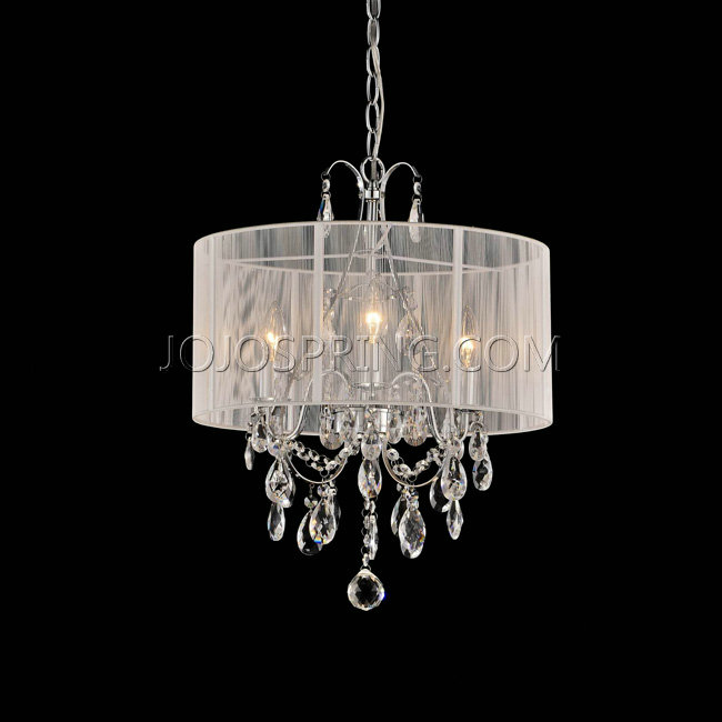 Maury White Cotton Thread and Chrome Crystal Chandelier - L807-D