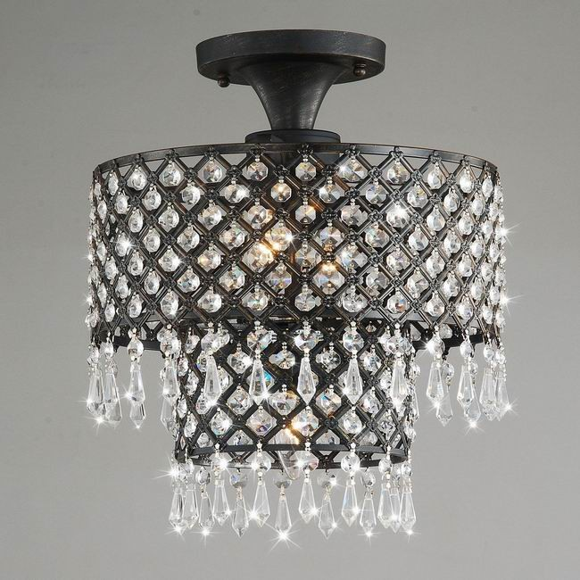 Melinda 3-light Antique Black/ Crystal Flush-mount Chandelier
