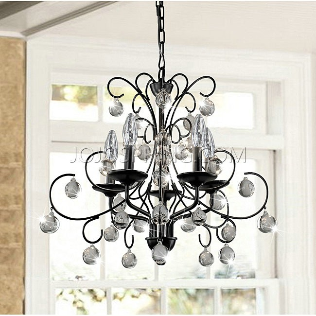 Messina 5-light Wrought Iron and Crystal Chandelier - B713-BW-32