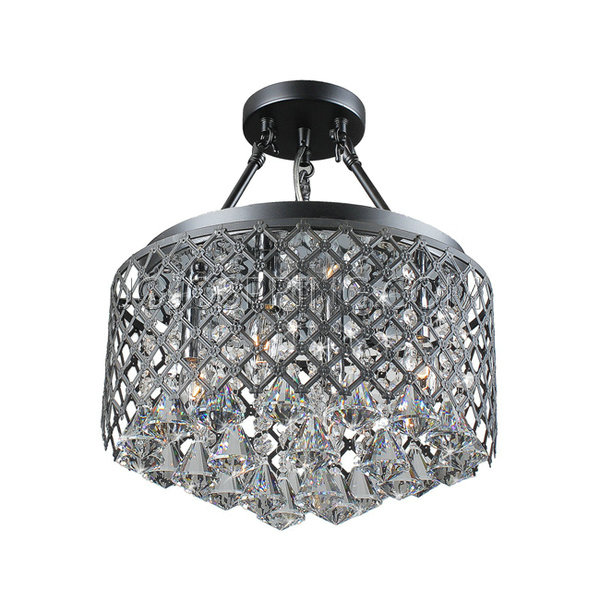 Nerisa 4-Light Semi Flush Mount Crystal Chandelier in Black