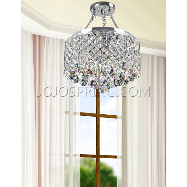 Nerisa 4-Light Semi Flush Mount Crystal Chandelier in Chrome