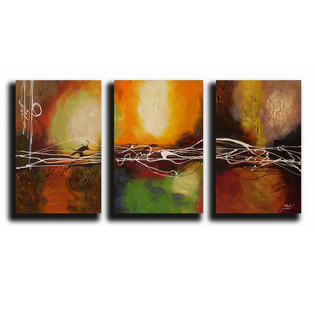 Hand-painted Oil Abstract Canvas Art (Set of 3)