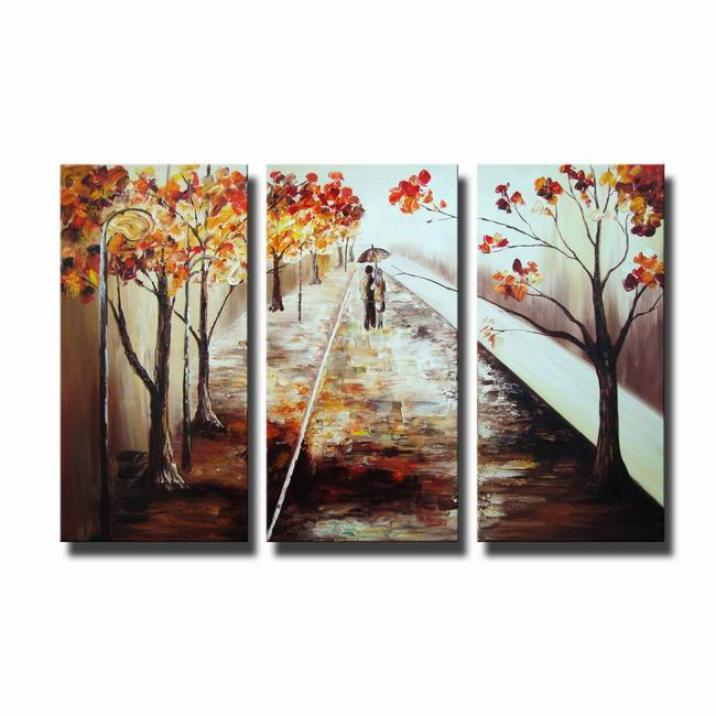 A Walk in the Rain' Hand-painted Canvas Art Set