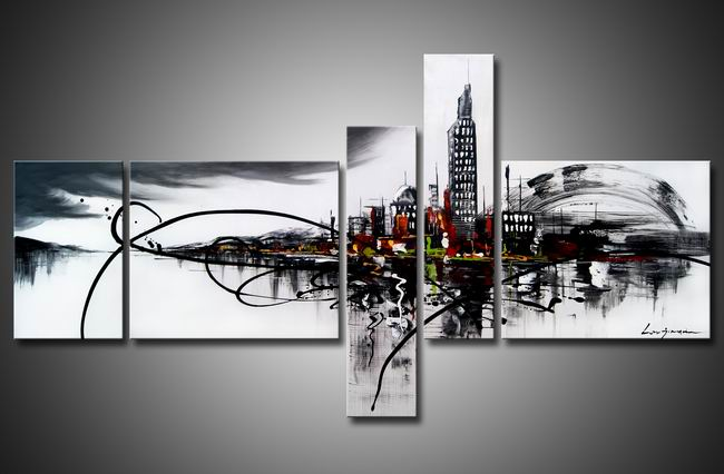 City On The River 5-piece Gallery-wrapped Hand Painted Art Set