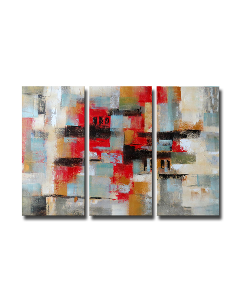 'Abstract496' Gallery-wrapped Canvas Art Set OF-496-LM
