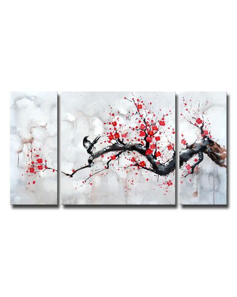 Red Plum Blossom' Canvas Art Set OF-597P-WY