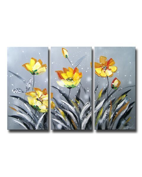 3-piece Hand-painted Gallery-wrapped Canvas Art Set OF-611-QTF