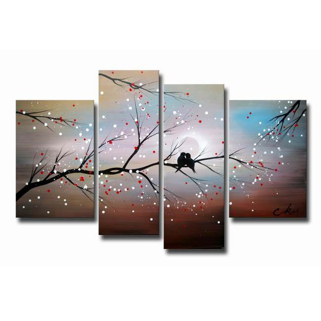 4-piece Hand-painted Gallery-wrapped Canvas Art Set OF-613-BVP