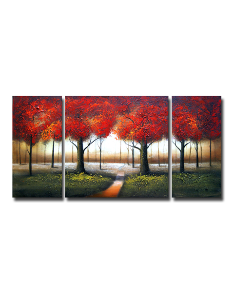 Red Autumn' 3-piece Hand-painted Gallery-wrapped Canvas Art Set