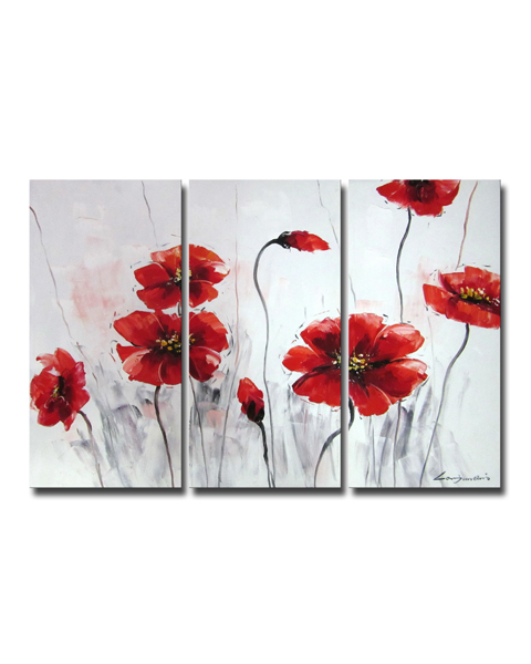 Oil 'Red Flowers' Gallery-wrapped Canvas Art Set OF-619K-BSW