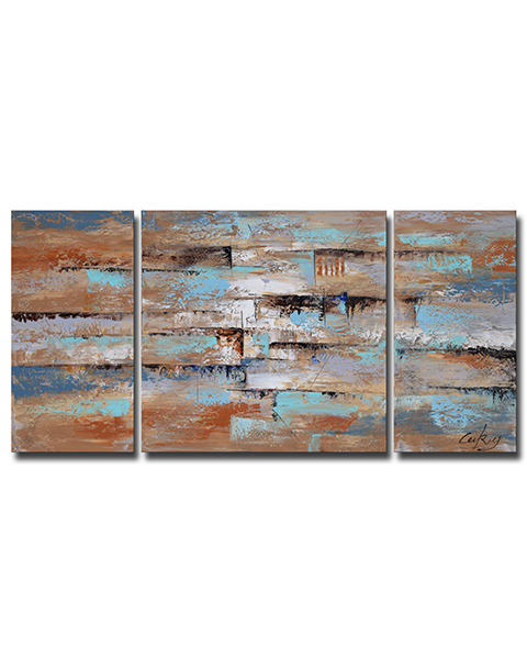Abstract 3-piece Gallery-wrapped Oil on Canvas Set OF-649D-LN