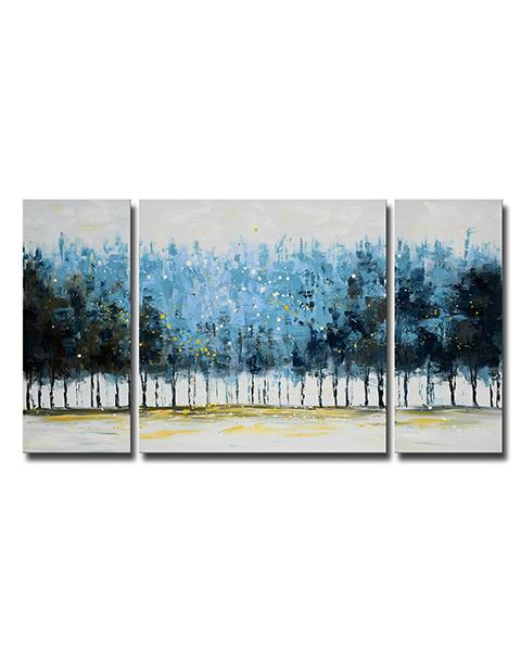 Hand-painted 'Mysterious Forest' 3-piece Gallery-wrapped Canvas