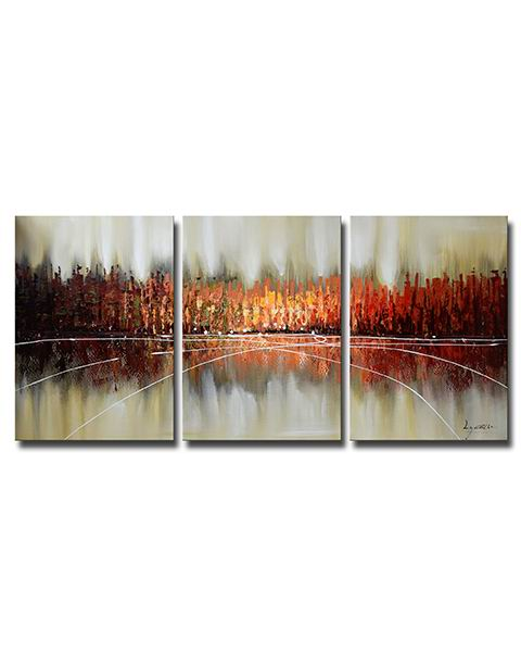 Hand-painted 'Abstract 662' 3-piece Gallery-wrapped Canvas Art S