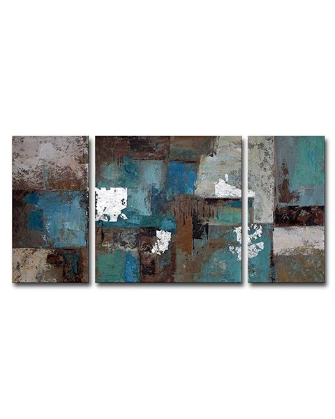 Hand-painted 'Ancient Castle' 3-piece Gallery-wrapped Canvas Art