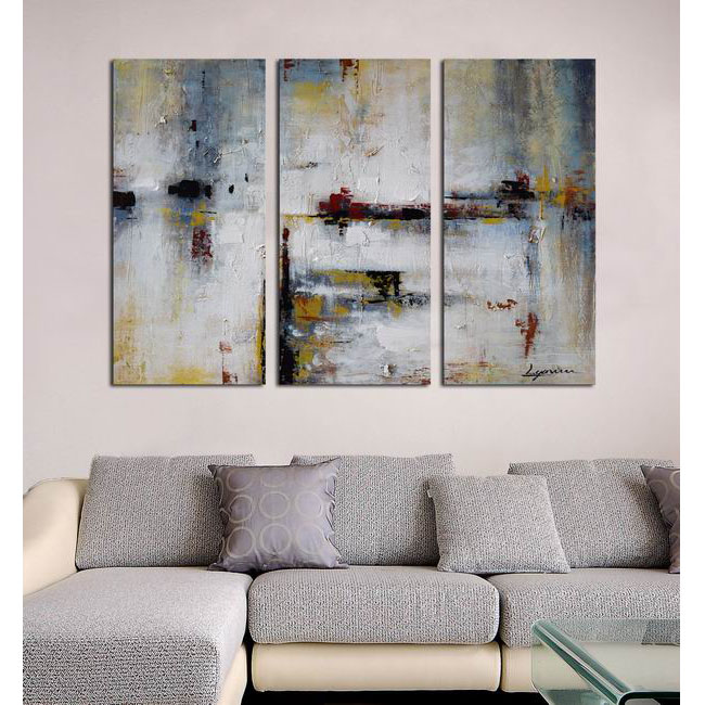 Hand-painted 'Abstract 666' 3-piece Gallery-wrapped Canvas Art S