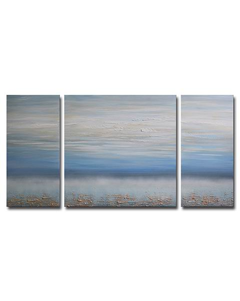 Hand-painted 'Abstract Ocean' 3-piece Gallery-wrapped Canvas Art