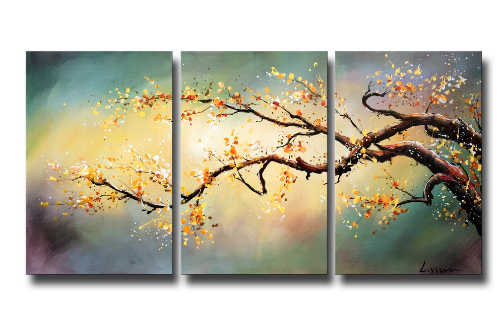 Hand-painted 'Yellow Plum blossom' 3-piece Gallery-wrapped Canvas Art Set OF-670-KIM